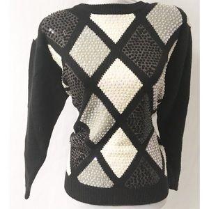 Black & Grey Sequin Sweater Size Petite Large